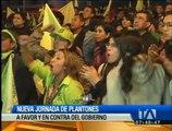 Nueva jornada de plantones a favor y en contra del Gobierno se vivió en Quito