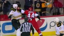 Zdeno Chara vs Jay Harrison fight April 13 2013 Boston Bruins vs Carolina Hurricanes NHL Hockey