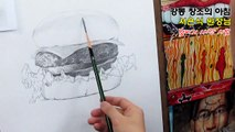 How to draw Hamburger with a pencil / Drawing tutorial/Drawing timelapse/햄버거 1시간 시범 소묘(서은식원장님)