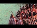 Naga Sadhus congregate to bathe in River Ganges - Kumbh Mela