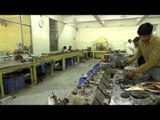 Artificial limbs in iron moulds