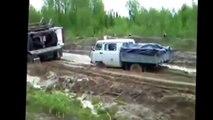 Bad roads in Russia. Siberian dangerous roads video