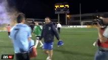 Raúl &  David Villa Exchange Jerseys Postgame between New York Cosmos vs New York City