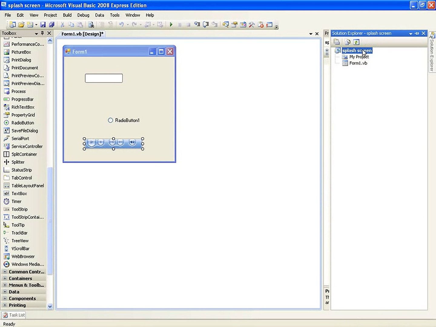 VB NET Tutorial 14 - Splash Screen (Visual Basic 2008/2010)