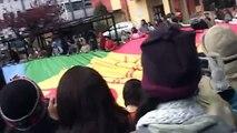 Bandera Mapuche Gigante en frontis Carcel de Temuko