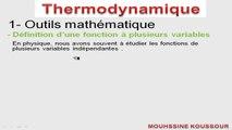 1 - Cours Thermodynamique - Définition d'une fonction à plusieurs variables