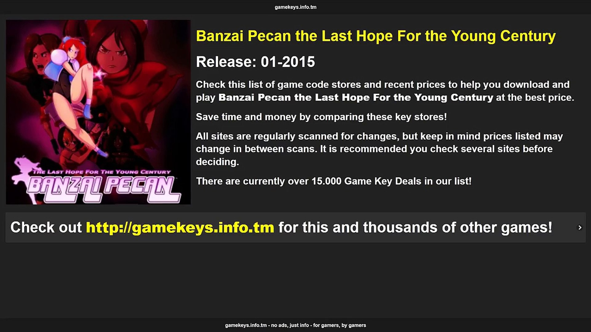 Banzai Pecan the Last Hope For the Young Century Game Key