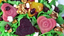 Beet and Goat Cheese Arugula Salad with Homemade Balsamic Dressing | Fablunch