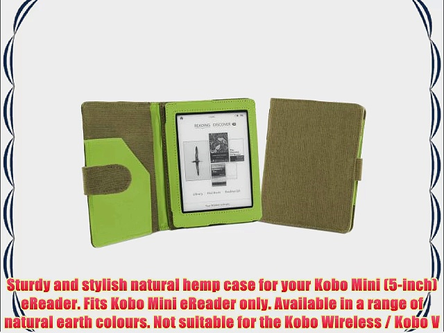 Cover-Up Kobo Mini (5-inch) eReader Natural Hemp Cover Case With Auto Sleep / Wake Function