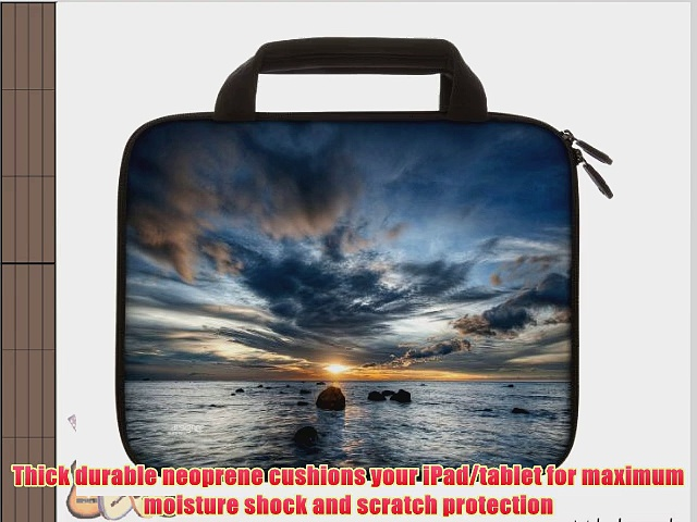 Designer Sleeves 8.9-Inch to 10-Inch Sunset Tablet Sleeve/iPad Sleeve with Handles Blue/Grey