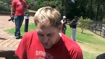 Steve Hofmeyr interview during Red October march, Pretoria