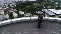 BMW Motorcycles F800R-World Stunt Champ Chris Pfeiffer goes off at BMW Headquarters in Munich!