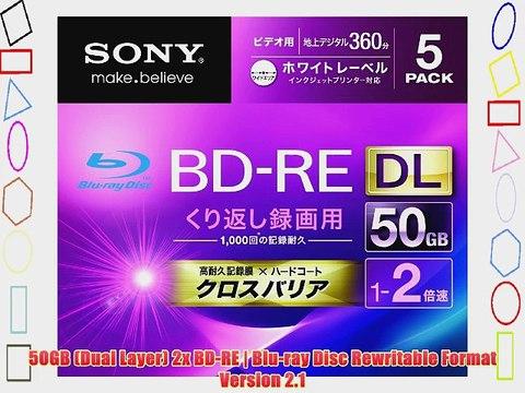Sony Blu-ray Rewritable Disc 10BNE2VGPS2 japan import BD-RE 50GB DL 2x Ink-jet Printable 10 Pack