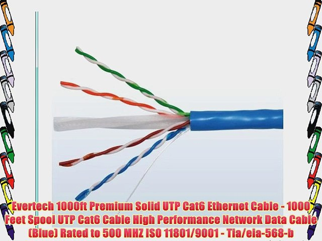 Evertech 1000ft Premium Solid Utp Cat6 Ethernet Cable 1000 Feet Spool Utp Cat6 Cable High Video Dailymotion