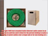 GadKo Bulk Cat5e Green Ethernet Cable Round Stranded UTP (Unshielded Twisted Pair) Pullbox