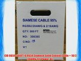 CIB RG59-500FT-B RG59 Siamese Solid Coaxial Cable   18/2 (18AWG 2C) Power Bl...
