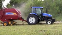 New Holland TD95D Tractor Sitrex Wheel Hay Rake and New Holland BR7060 Round Hay Baler