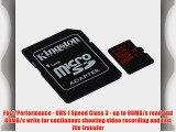 Kingston Digital 32GB microSDHC UHS-I Speed Class 3 U3 90R/80W Flash Memory Card with Adapter