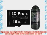 3C Pro 16GB microSD microSDHC Transflash Memory Card Class 4 with SD Adapter