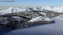 Descente virtuelle d'une piste de ski au Lioran