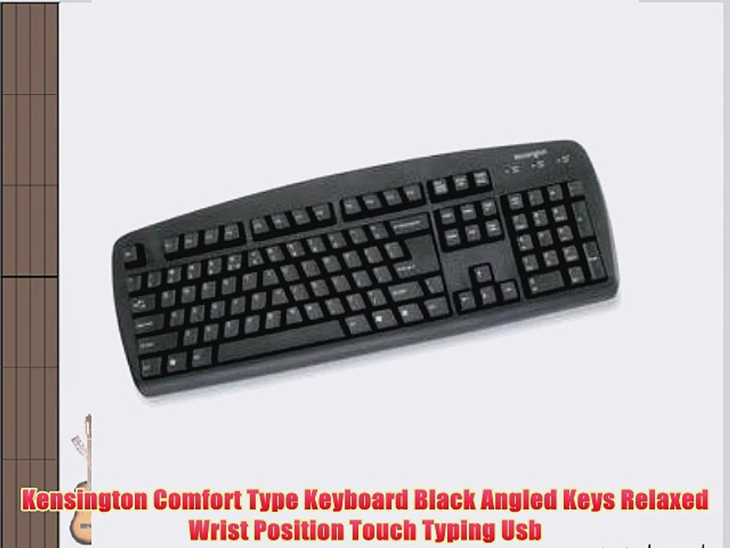 Kensington Comfort Type Keyboard Black Angled Keys Relaxed Wrist Position Touch Typing Usb