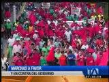 En Santo Domingo se realizaron marchas a favor y en contra del Gobierno