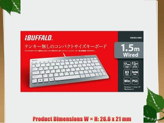 iBUFFALO USB Connection Compact Wired Keyboard Shortcut Key with White PlayStation4, PS4 Verified