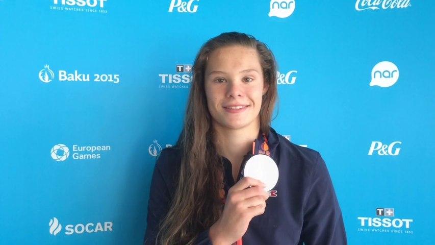 Pauline  Mahieu - médaille d'argent natation 50m dos
