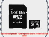 NOS Disk Extreme 64 GB MicroSD SDXC Class 10 Memory Card   (High Speed Adapter) - 64 GB MicroSD