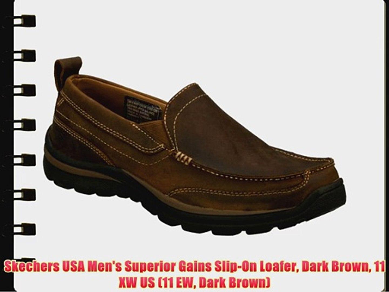 66ab1f9d2b628d Skechers USA Men's Superior Gains Slip-On Loafer Dark Brown 11 XW US (11 EW  Dark Brown) - video dailymotion