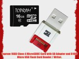 Topram 16GB Class 4 MicroSDHC Card with SD Adapter and R10W Micro USB Flash Card Reader / Writer.