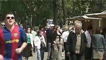 Barcelona city RAMBLAS Video Spain,tourism, street performers Catalonia. Cataluña, España.