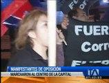 Manifestantes de oposición marcharon al Centro de Quito