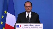 Conseil européen - François Hollande sur l'attentat terroriste à Saint-Quentin-Fallavier en Isère