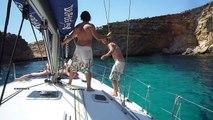 Epic Boat Fail - Guy falls off boat