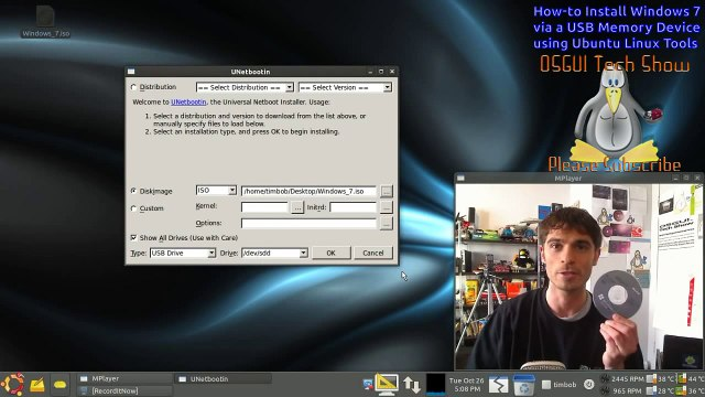 How-to Install Windows 7 via USB Memory Device using Ubuntu Linux Tools Tutorial