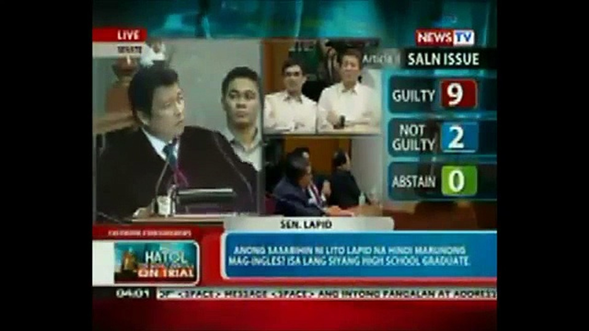 SEN. LITO LAPID VOTE #10 CJ CORONA GUILTY! KONSENSYA ANG GAMIT KO. CLEARLY CORONA BROKE THE LAW