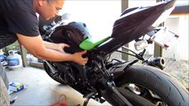 DIY How To Change Battery Of Motorcycle Sport Bike Kawasaki Ninja ZX6R Monster Special Edition