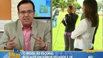 REPORTER DA TV RECORD TENTA ATRAPALHAR TRANSMISSÃO AO VIVO DA TV GLOBO (NA CARA DE MADEIRA)