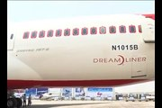 Boeing 787 Dreamliner in Air India colors at India Aviation 2012 Video 1
