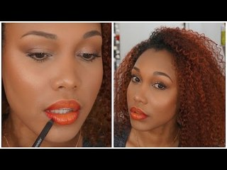 Glowy makeup & red/orange ombre lips