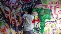 Art graffiti on the street hard core art video