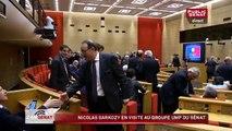Nicolas Sarkozy en visite au groupe UMP du Sénat