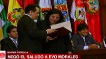 Diputada Norma Pierola niega el saludo a Evo Morales | Diputada niega saludo de Evo Morales