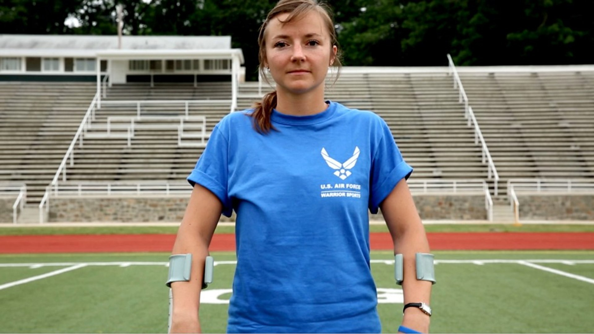 Nine weeks after losing her leg, an Air Force pilot competes in the Warrior games