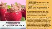 ►Recetas de postres faciles caseros - Fresas rellenas de chocolate wonka