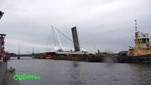 Samuel Beckett Bridge on the move - Dublin City, Ireland - HD