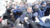 Footage shows demonstrators clash with police in London anti-austerity protest