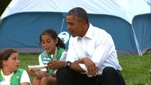 Obamas camp out with Girl Scouts at White House