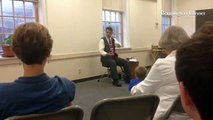 Simon Brooks tells the story of Jack and the beanstalk, to children at the Bennington Free Library.